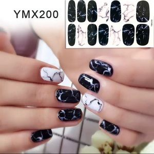 Other - Black Marble Nail Strips Nail Stickers